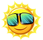 Image of Sun with sunglasses for Summer Camp registration