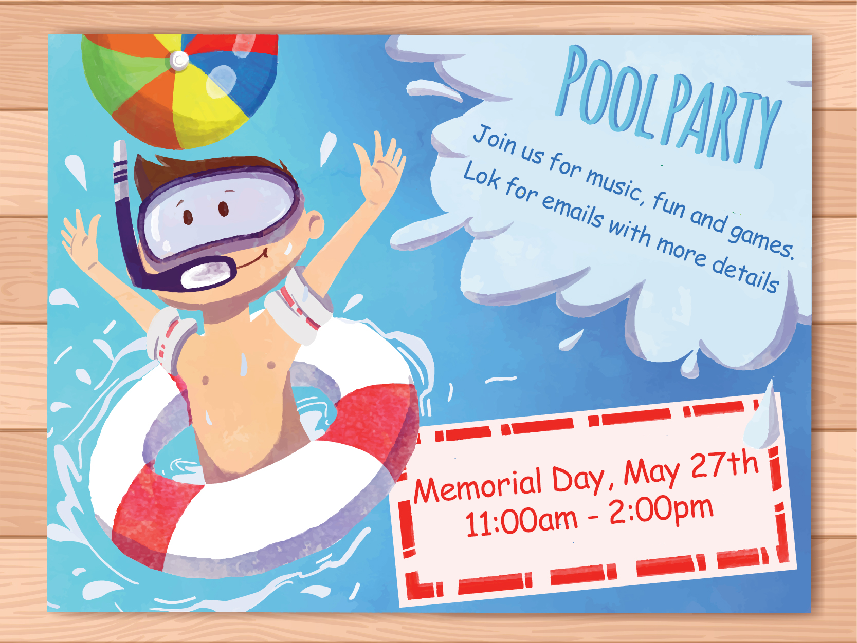 Memorial Day Pool Party May 27th
