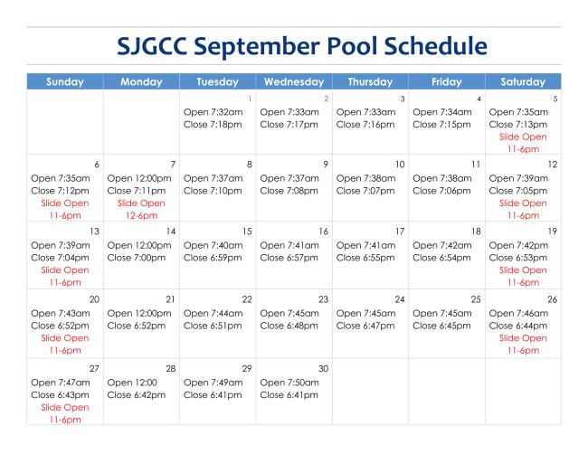 September Pool Schedule